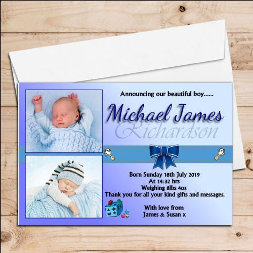10 Personalised Baby Boy Birth Announcement Thank You PHOTO Cards N36